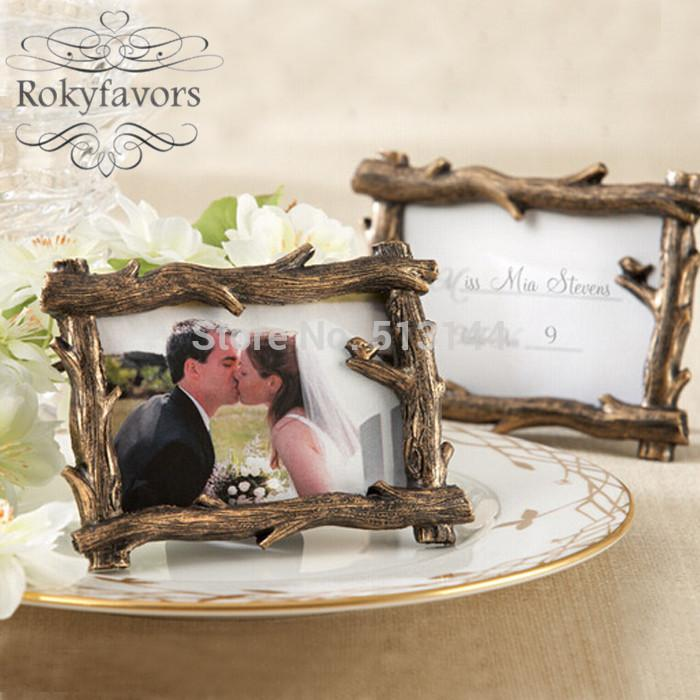 Rustic Fall Tree Branch Photo Frame Place Card Holder Forest Wedding