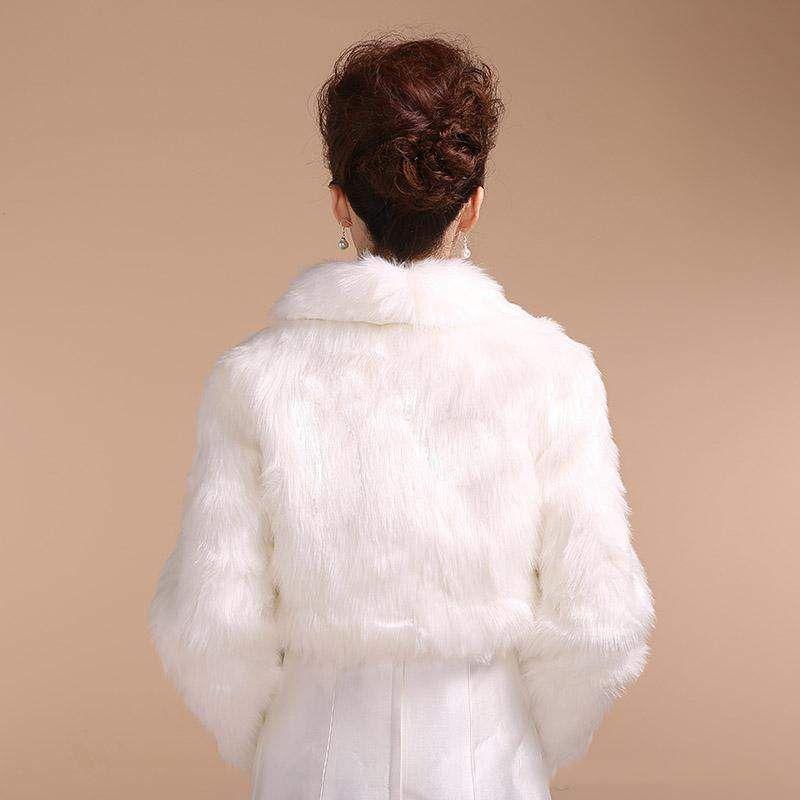 Prix de gros 2015 style d'hiver taille moyenne robe de mariée mariée Wrap / veste / châle / cape / étole / Bolero / manteau blanc fourrure à manches longues Fuax