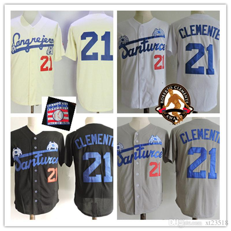 low priced cde96 2c673 Mens 21 Roberto Clemente HOF patch Jersey Stitched grey white black  SANTURCe CRABBERs Puerto Ricos Roberto Clemente baseball Jerseys S-3XL