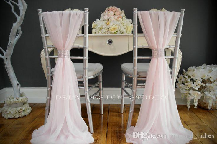 Ivory Chiffon Chair Sashes Wedding Party Deocrations Bridal Chair Covers Sash Bow Custom-made Color Available 20inch W * 85inch L