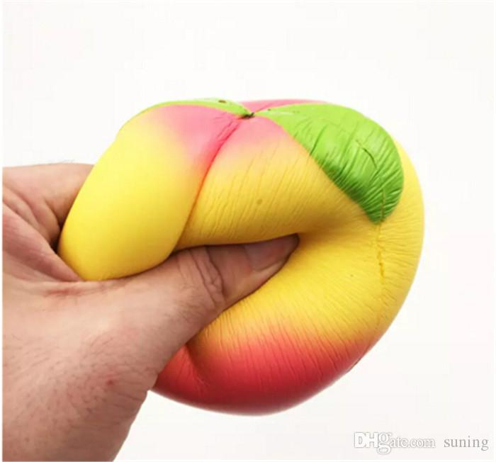 10 CM Jumbo kawaii Squishy Leach Rising Peach Colgante Correas de teléfono Encantos Queeze Juguetes para niños Squishies lindo Pan