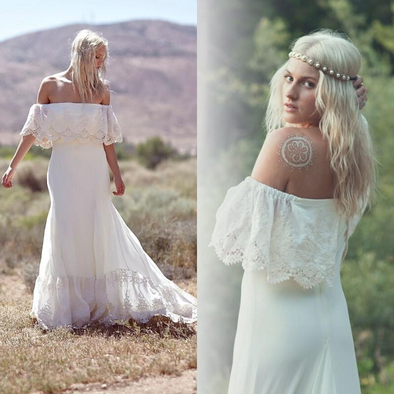 2015 New Bohemian Wedding Dresses Casual Boho Bridal Gowns A Line Sheath Off The Shoulder Lace Brides Wear Court Train Portrait Dress