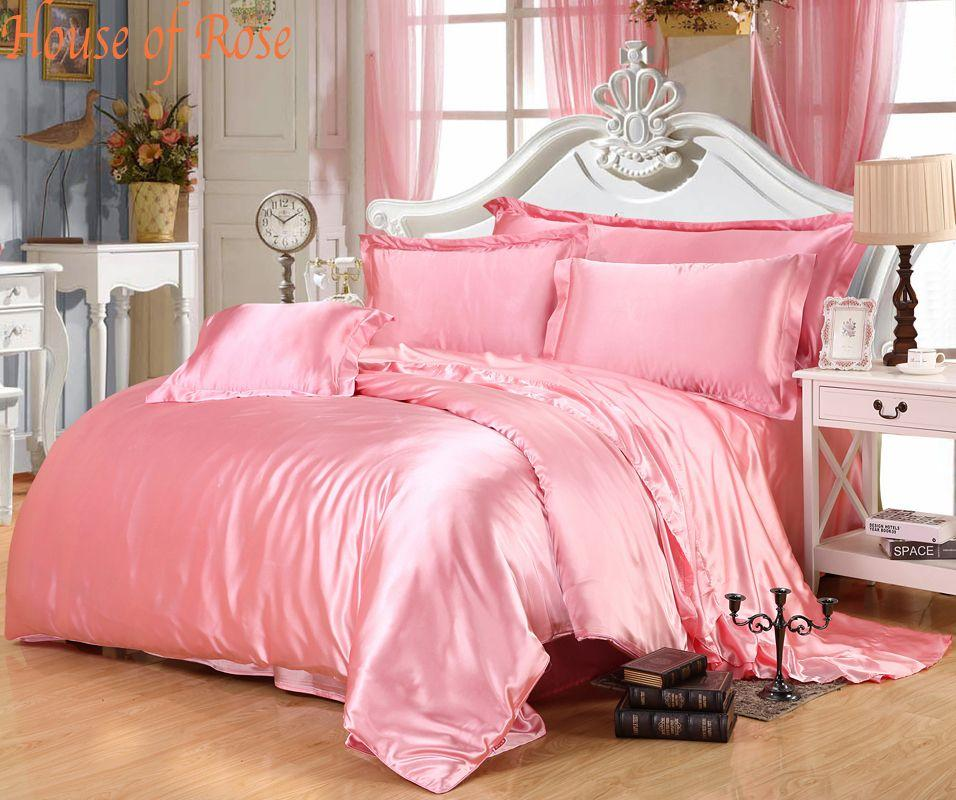 Online Cheap Luxury Light Pink Silk Bedding Sets Chinese