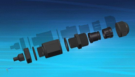 22 mm waterproof RJ45 network connector with strip line \ network interface: Ethernet direct head