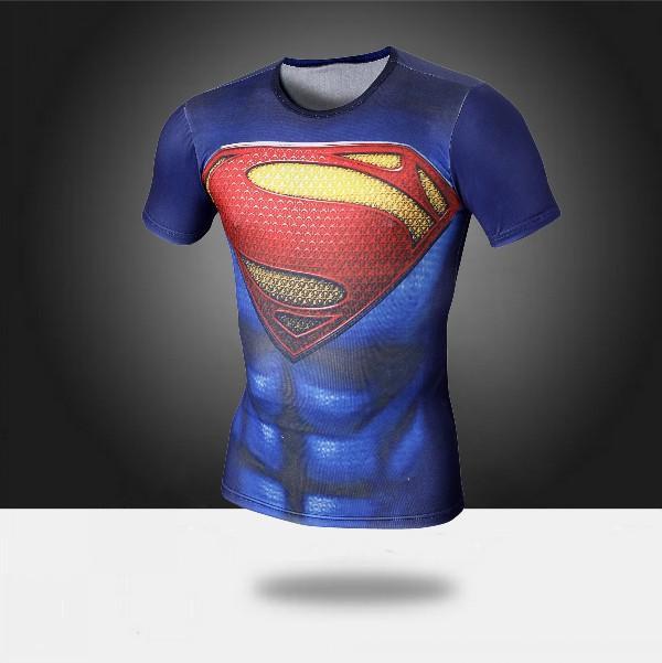 m xxl men women superman t shirt muscle fitness tights short sleeve compression t shirt running. Black Bedroom Furniture Sets. Home Design Ideas