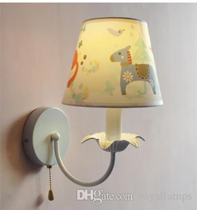 Children room colored abajur Trojan Led wall light fabric shade Cartoon lamp novelty horse kids lighting sconce Bedroom baby room wall lamp