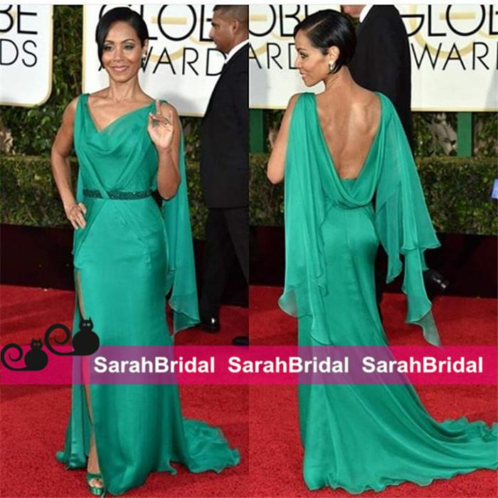 Jada Pinkett Smith Golden Globe Lavender Celebrity Gowns with Cowl Back and Beaded Waist for Arabic sexy Evening Dresses Party Wear