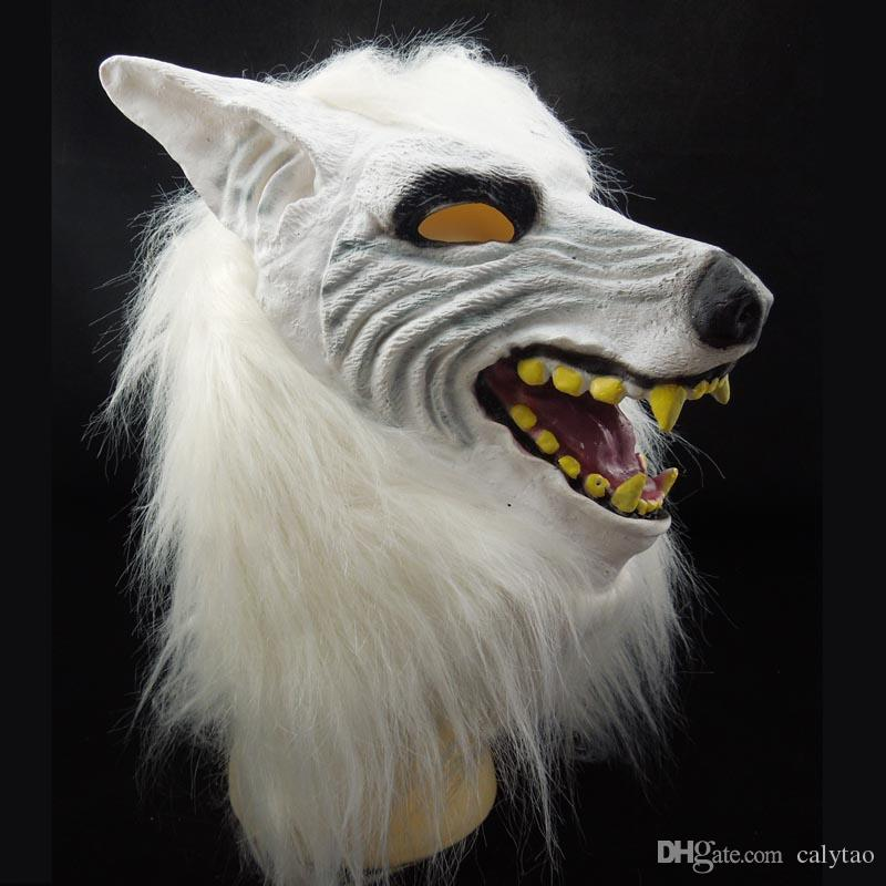 New White Wolf Mask Animal Head Costume Latex Halloween Party Mask Carnival masquerade ball Decoration novelty Christmas gift