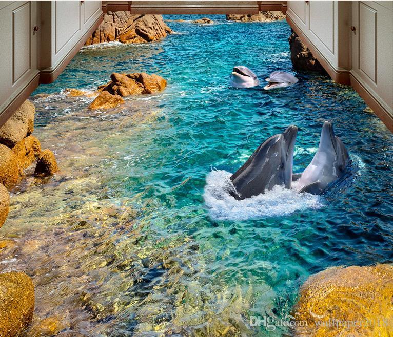 HD dolphin sea bathroPainting PVC wallpaper om bathroom bedroom 3D floor PVC wallpaper for room