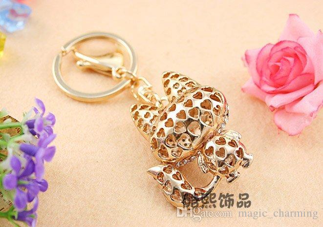 Drop shipping Key ring holder,big tail fox key chains,Purse/handbag Charms,Nice Gift Real Gold Plated Alloy Keyring,