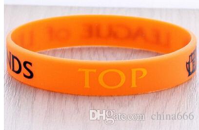 Heiß! 2015 Einzelhandel LOL SPIELE Souvenirs 100% Silikon-Armband LEAGUE von Legenden Armbänder mit ADC, Dschungel, MID, SUPPORT, TOP, gedrucktes Band