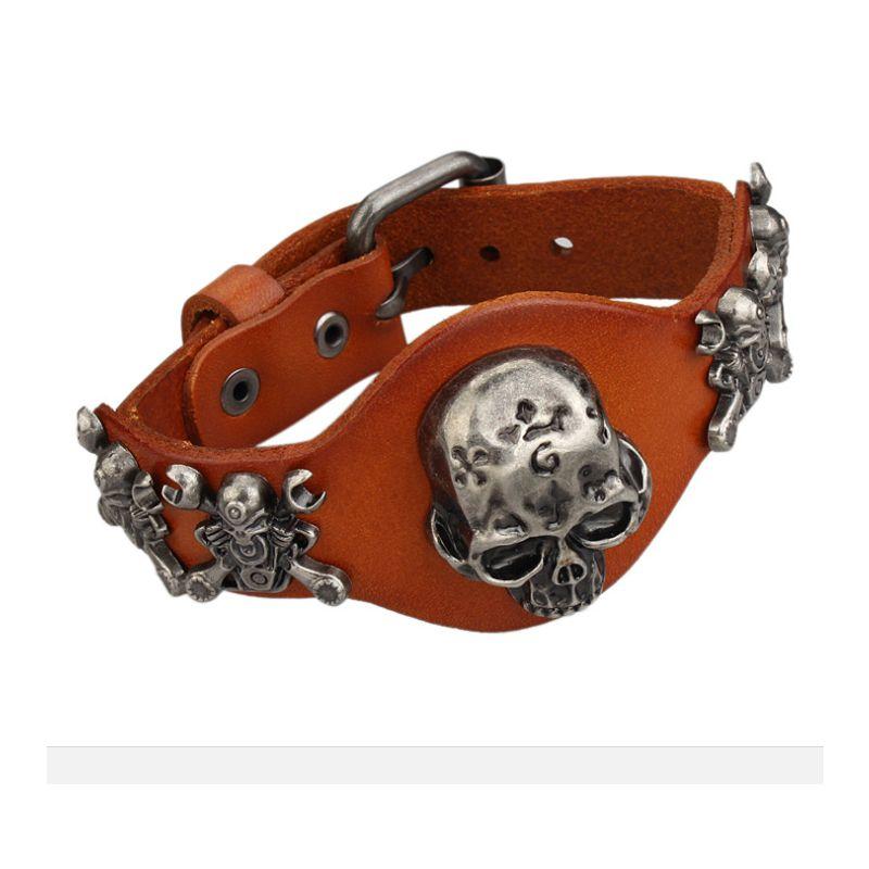 Leather Charm Bracelet Skull Head DIY Bracelets&Bangles Adjustable Punk Style 4Types Rivet Europe American Couple Bracelet For Women Men