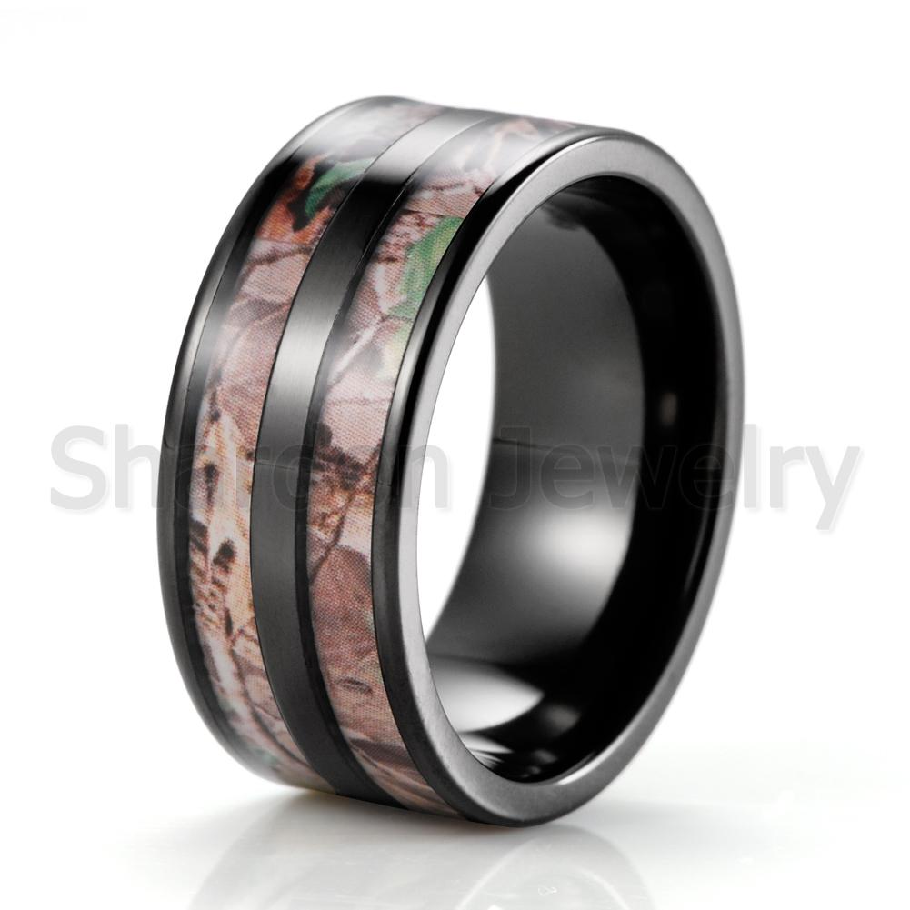 Wholesale Black Men S 10mm Titanium Double Realtree Ap Camo Engagement Ring Camofluge Wedding Band Outdoor Hunting Ring