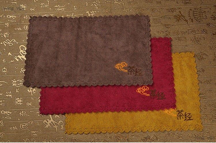 accesorios del té marca paños de cocina de algodón tela de toalla de regalo rojo marrón de oro 29.5 * 18cm