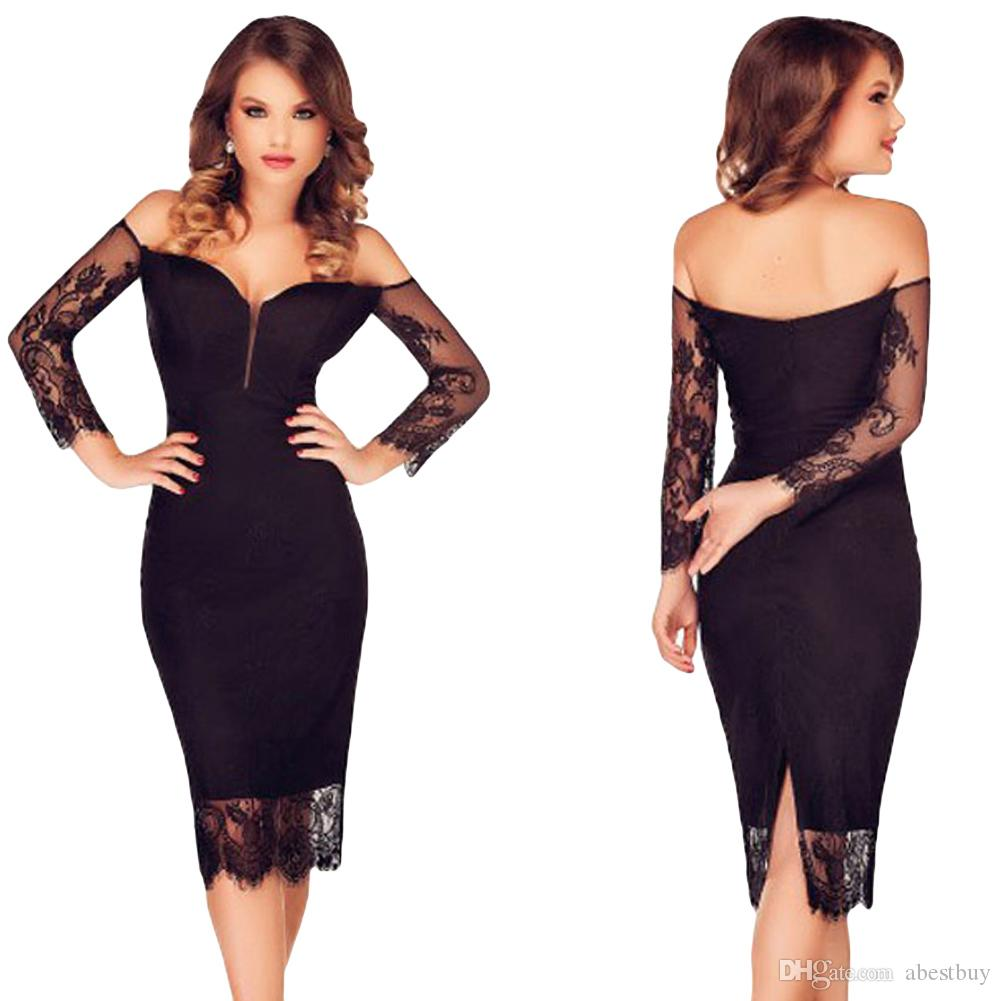 Sexy Women Midi Dress Lace Splice Off Shoulder Backless Bodycon ...