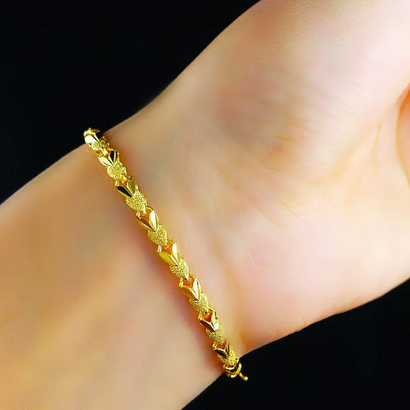 18K GP Gold Bracelet Length Adjustable Exquisite Wedding Jewelry ...