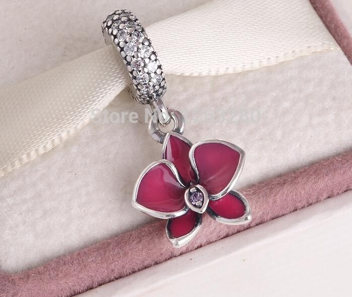 2017 Pandora Summer Charms Silver Orchid Dangle Charm 925