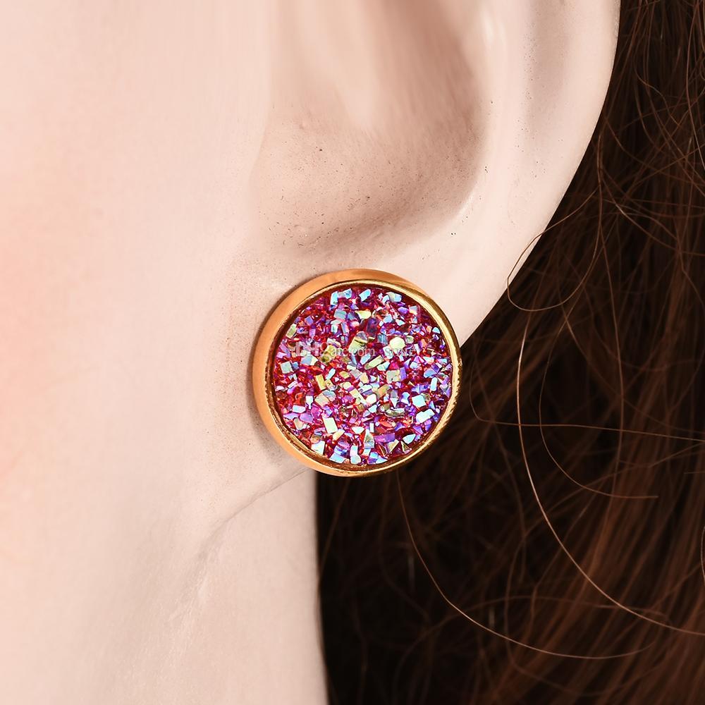 Mode 12mm Harz Drusy Druzy Ohrringe Gold Überzogene Süßigkeit Edelstein Nachgemachte Stein Ohrstecker für Frauen Dame Schmuck