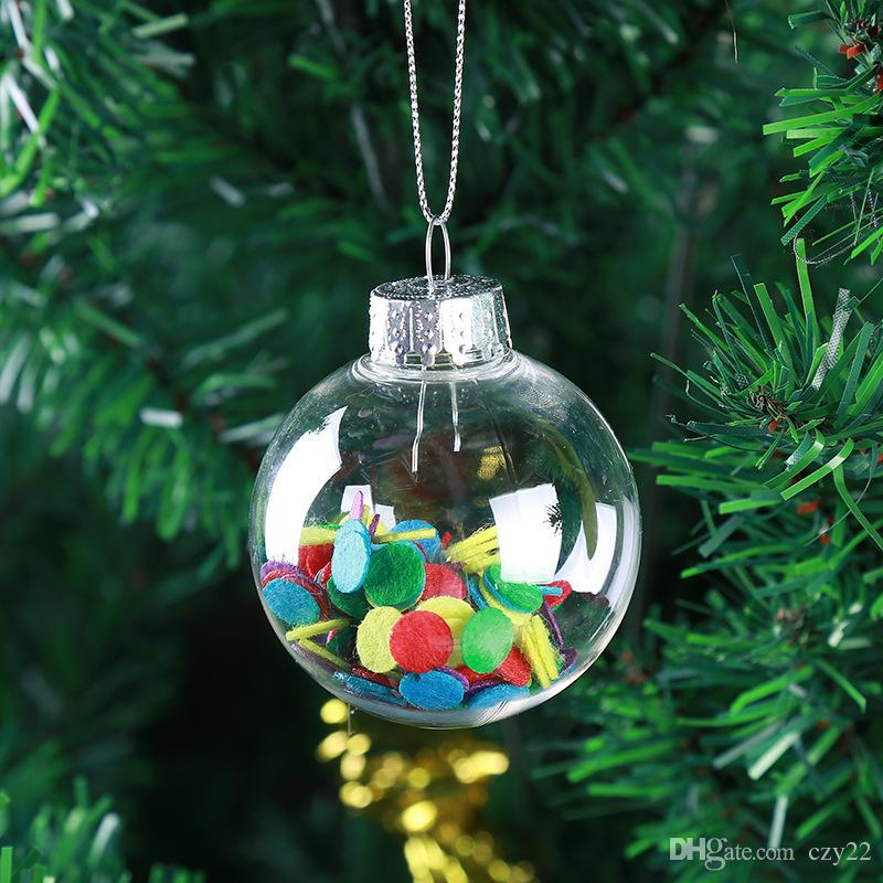 2017 Christmas Tree Decoration Transparent Hollow Ball Trailer Window Diy Shopping Mall No Gifts Inside Xmas Decorations Cheap