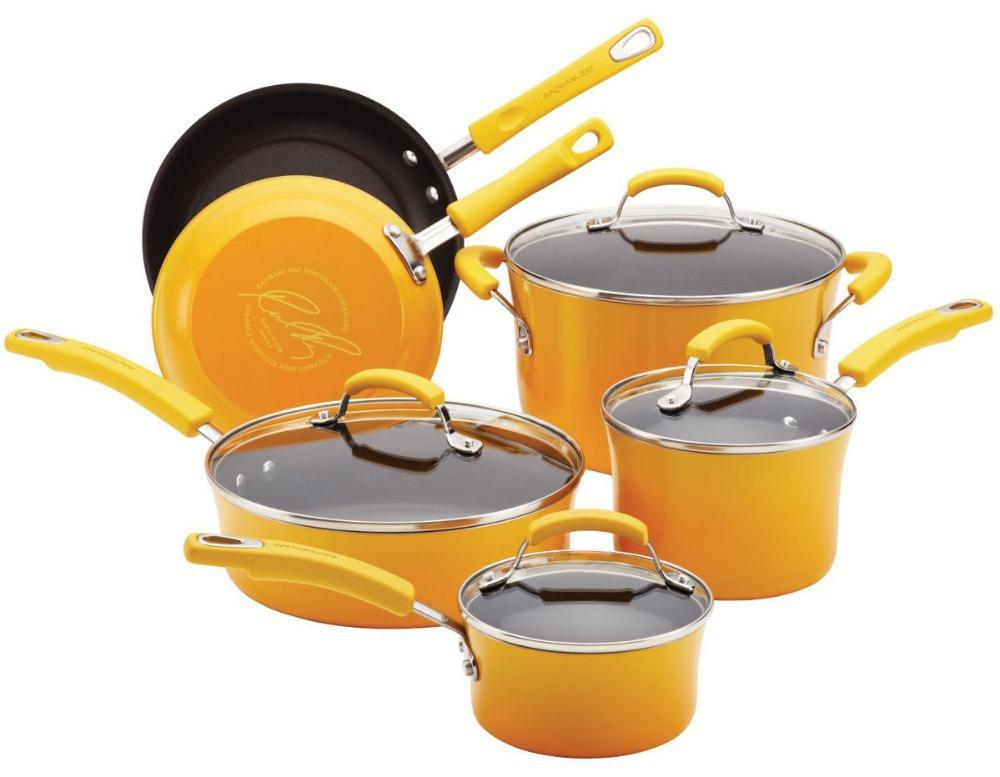 Yellow Kitchen Nonstick Hard Enamel Cookware Set Pots Pans Cookware