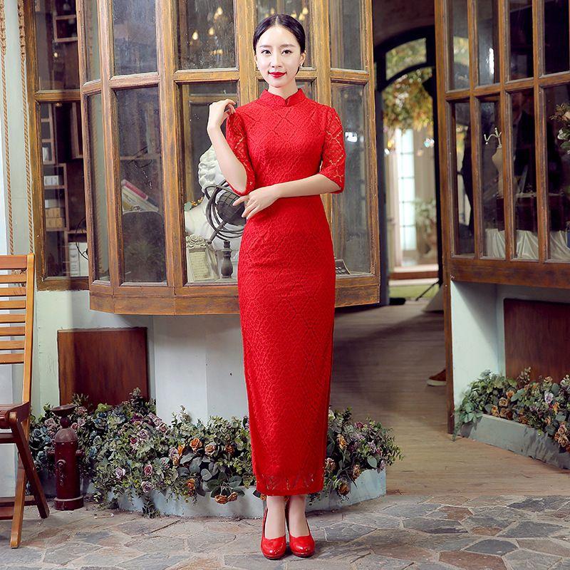 Shanghai Story China Qipao Lace Cheongsam Long Cheongsam Qipao Dress Etiquette Qipao Chinese Traditional Dress Red