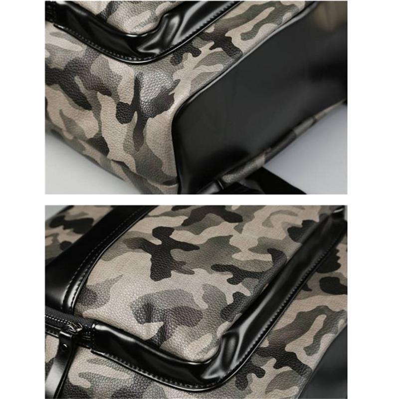 Nouveau sac à dos en cuir PU randonnée sac camouflage homme sac à dos couleur sac à dos style cartable voyage retour out307
