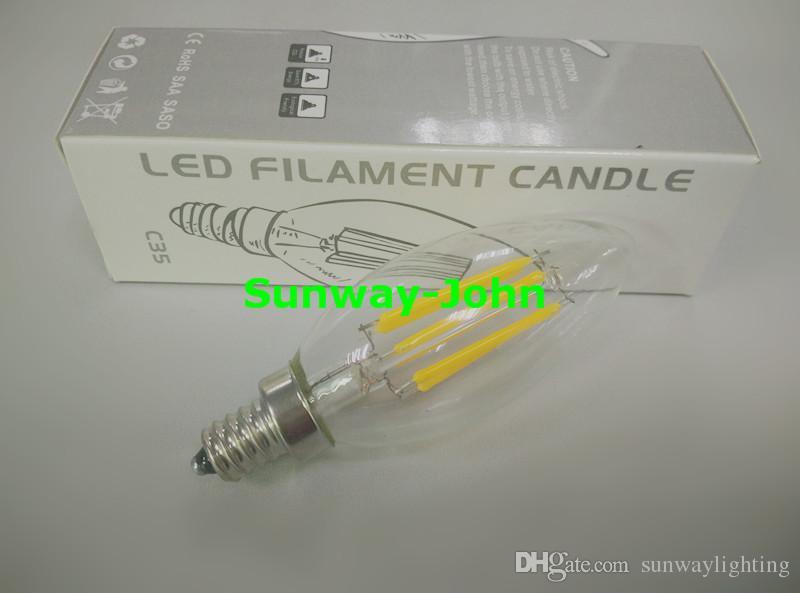 E12 E14 B22 E27 Ampoule à incandescence du fil LED 2W 4W 6W ampoules à intensité variable Remplacement des ampoules à filament de 60W LED SA SA UL 85-265
