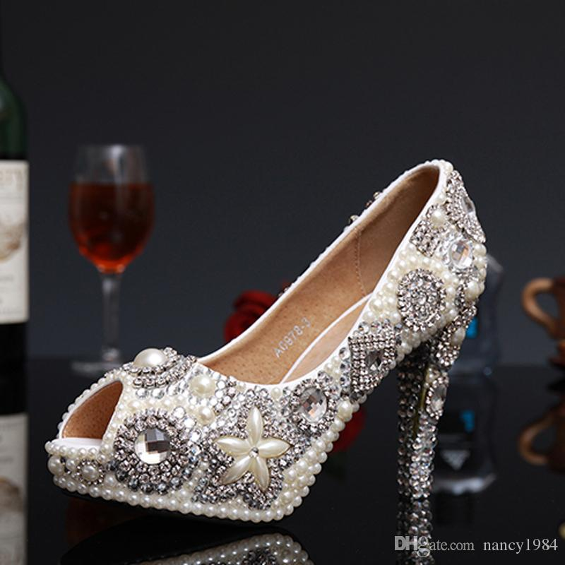Marfil perla Rhinestone zapatos de vestir de boda zapatos de tacón alto nupcial peep toe impermeable mujer fiesta zapatos de baile envío gratis