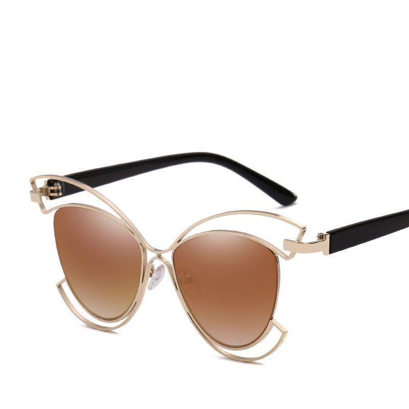 a9635040190 Wholesale Mirror Cat Eye Sunglasses 2017 Women Metal Hollow Out ...