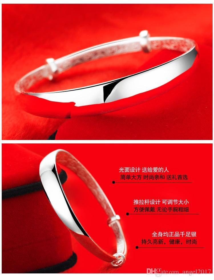 Smooth sliding export Korean fashion bracelet bracelet S999 Sterling Silver Bracelet Valentine's Day gift to send his girlfriend a gift