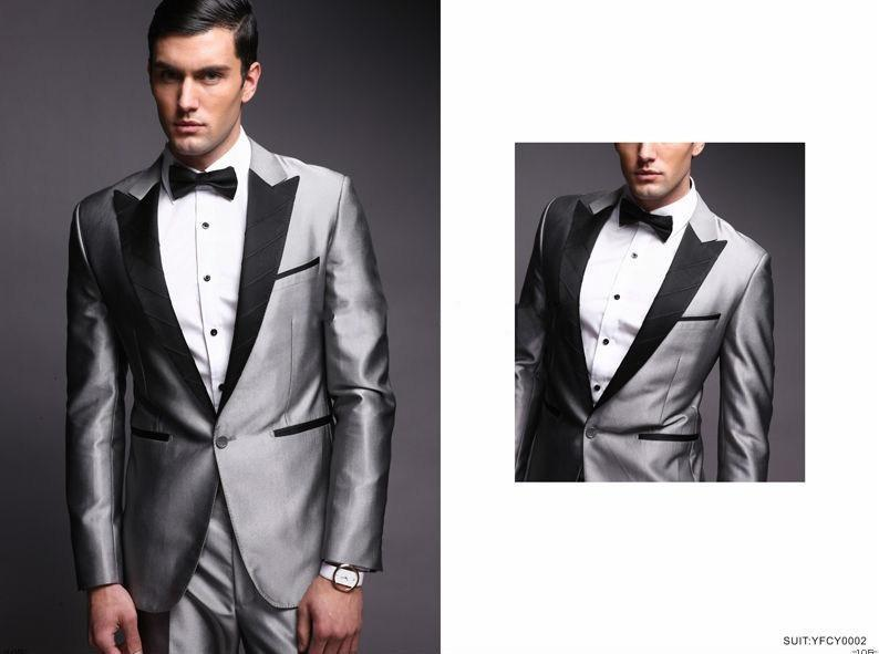 New Handsome Peaked Lapel Silver Grey Groom Tuxedos Groomsman ...