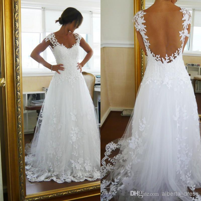 2019 Sexy V Backless Beach A Line Lace Tulle Wedding Dresses Sweetheart Neckline Short Sleeves Sweep Train Wedding Gowns
