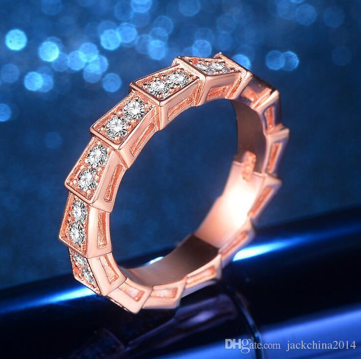 2017 neue Ankunft Meistverkaufte Luxus Schmuck 925 Sterling Silber Rose Vergoldet Party Frauen Hochzeit Schlange CZ Diamant Band Ring Geschenk