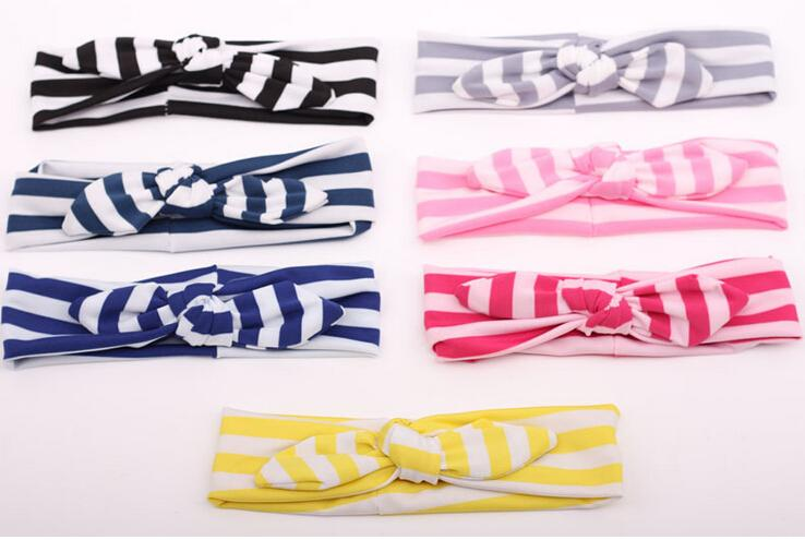 Beautiful Striped Baby Hair band Girls Lovely Bow Hair Band Infant Cute Bunny Hare Rabbit Ear Head wrap Children Bow Elastic head band 30pc