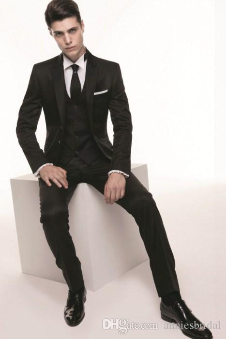 Smart Black Wedding Suits For Men 2015 Peaked Lapel Mens Suits ...