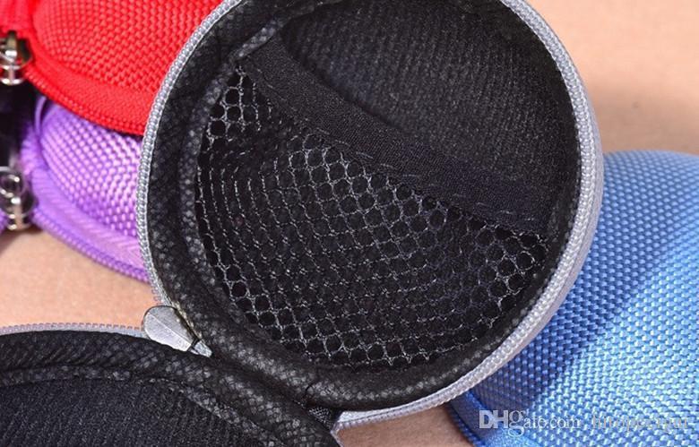 Mini rotonda hard Zipper cavo degli auricolari Sport di trasporto del sacchetto di immagazzinaggio del sacchetto della cassa il legare del cavo cuffia auricolare SD TF Card Cable