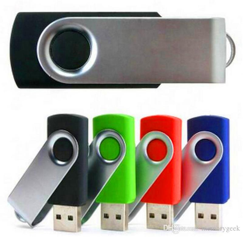 2020 100% Real 2 GB 4GB 8GB 16 GB 32GB 64 GB metalen USB-flashstation USB 2.0 draaiende metalen Pendrive Memory Stick kan aangepast logo worden aangepast