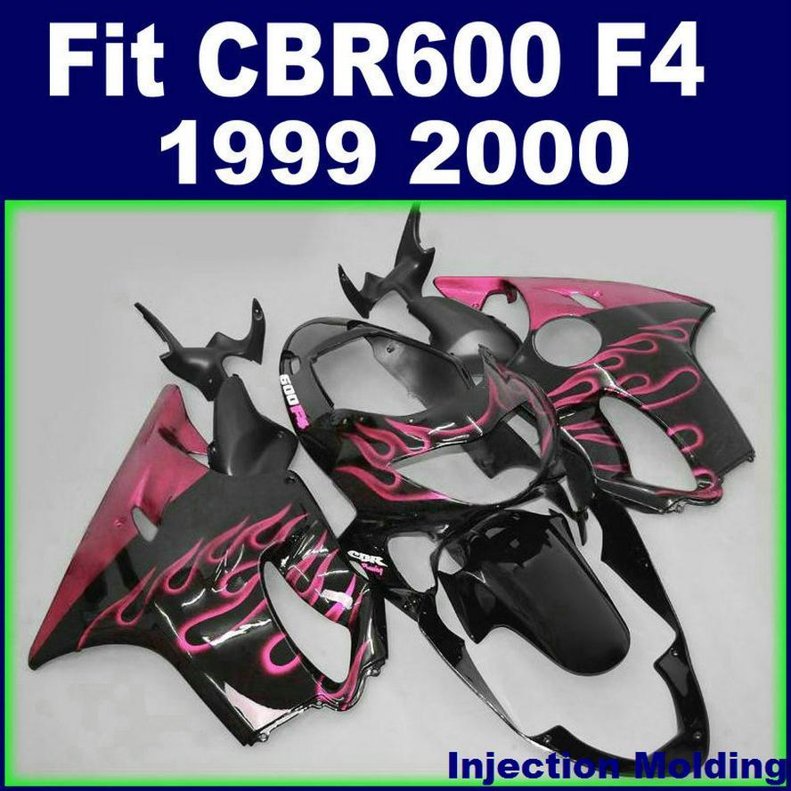 HONDA grenaj CBR600 F4 için özelleştirebilirsiniz kalıp 7Gifts + Enjeksiyon 1999 siyah 99 00 cbr 600 f4 grenaj kitleri 2000 pembe alev RCNH