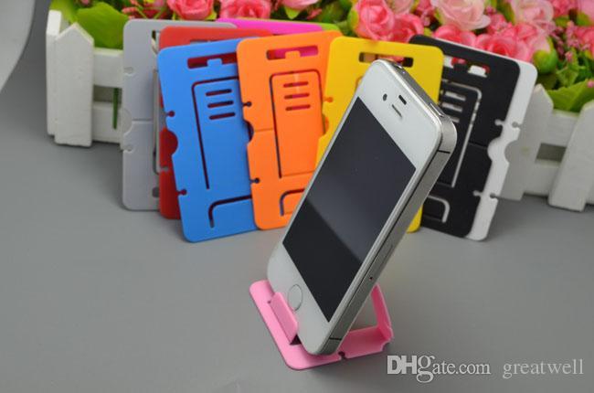 Portátil de Plástico Dobrável Cartão de Crédito Móvel Celular Tablet Suporte Titular para Samsung Iphone HTC Celulares Stands