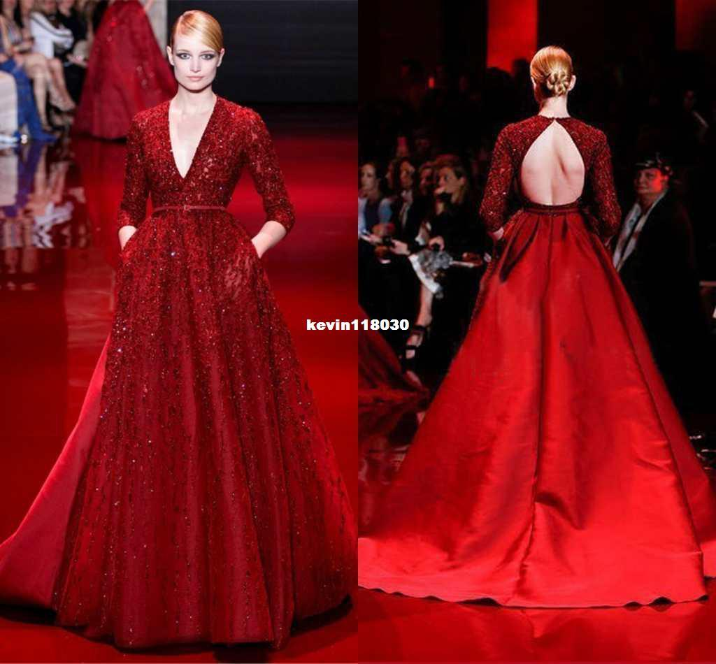 Evening Dresses 3/4 Long Sleeves Elie Saab Beaded Satin Dark Red ...