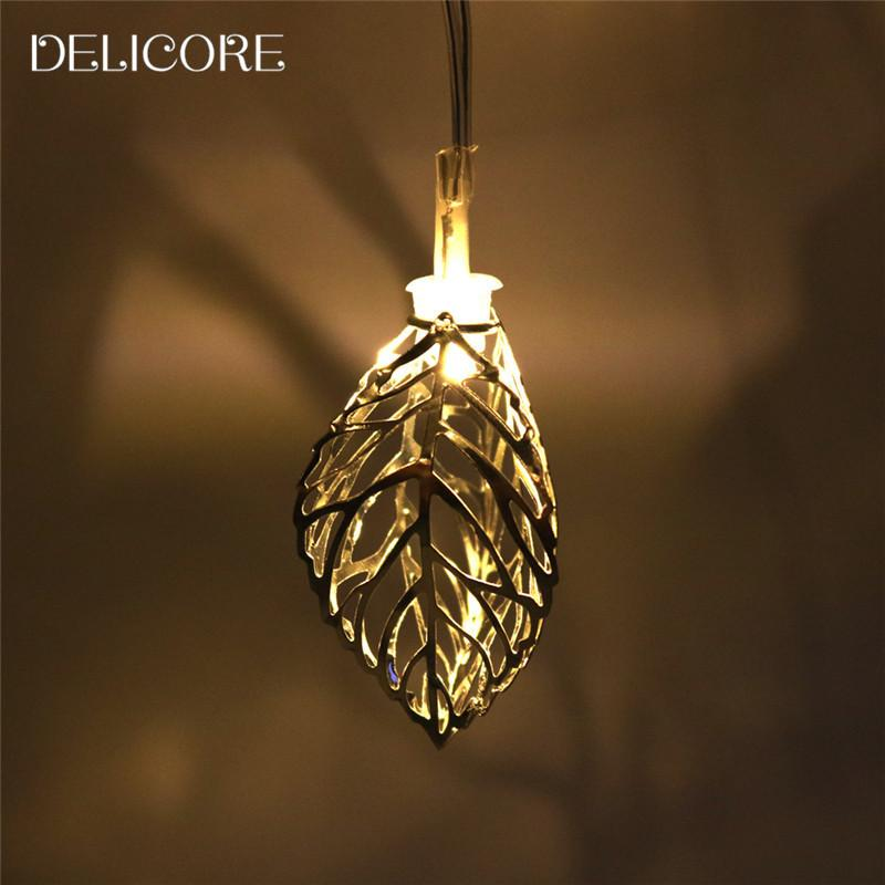 Whole Delicore 1 65m Mini 10 Led Leaf String Lights Battery New Year Party Wedding Home Decoration Fairy S075 Outdoor