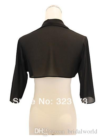 Black Chiffon Evening Jackets Party Boelros Accessories Jackets 3/4 Long Sleeves White Wedding Shrugs Wedding Jackets Special Occasion Wrap
