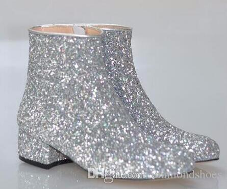 T-stage Women Glitter Ankle Boots Square Heels Sparkly Booties Fall Winter Feminino Botas Red Silver Gold Shoes Woman