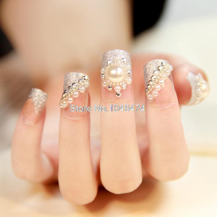 Wholesale Full Diamond Pearl Fake Nails Wedding Bridal False Nail ...