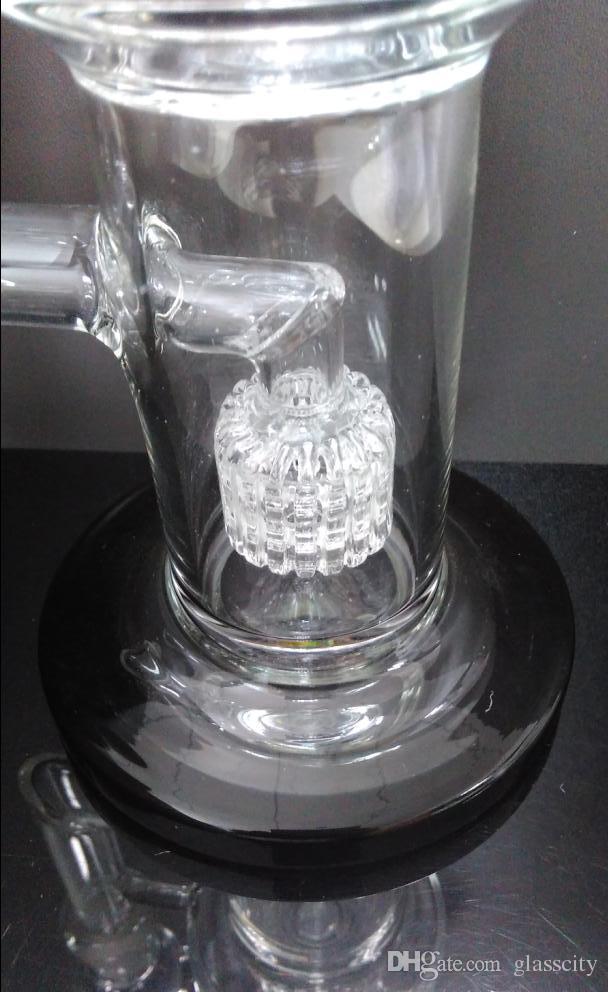 Bocal dobrado 11 polegadas De Vidro Bong com Duplo Matrix Perc Tubulação De Água cor preta 14.4mm conjunta boa qualidade Frete grátis