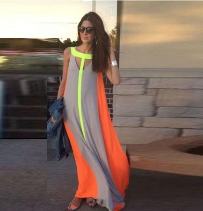 Fashion Casual Dresses Summer sleeveless Tank long chiffion wave striped color maxi dresses bohemian beach vestidos Women Clothing Free DHL