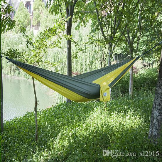 Ree grátis 100 pçs / lote ao ar livre pano de pára-quedas dormindo rede único Camping Hammock