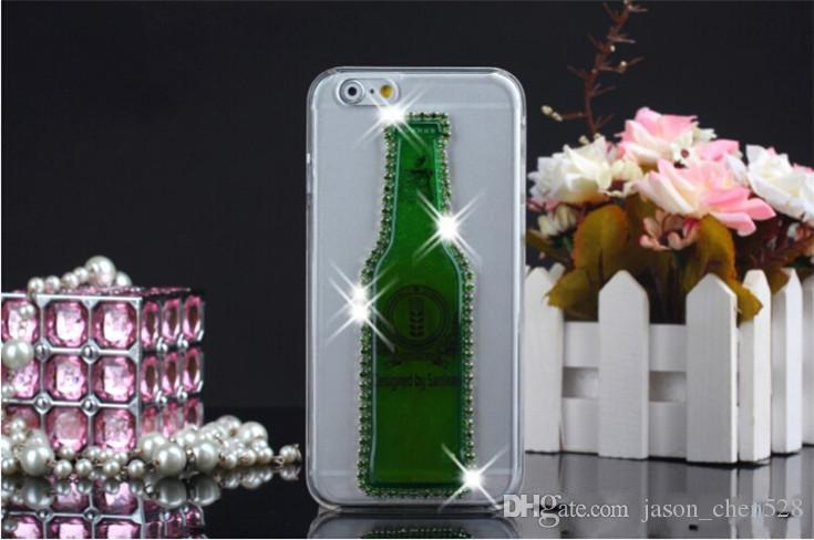 wine glass Float liquid quicksand Transparent Case bling crystal Red Wine glasses Cocktail Beer Cup Rhinestone phone cover for iphone