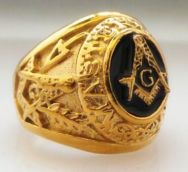 Stainless Steel Gold Master Masonic Ring Free Mason Signet