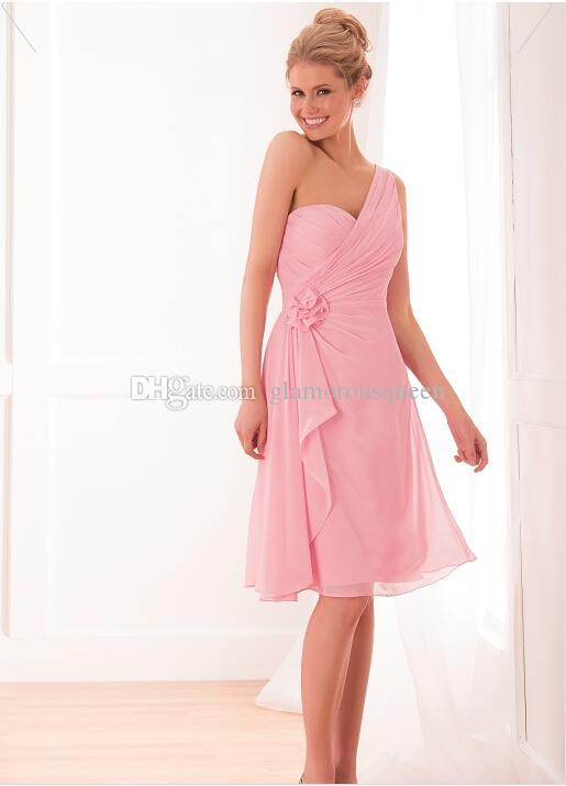 Uroczy Sparkle Line Długość kolana Lekkie Różowe Szyfonowe Sukienki Druhna Ramię Z Handmade Flower Short Cocktail Party Dresses